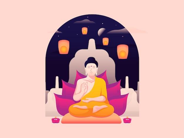 Vector illustration of a buddha statue commemorating vesak day