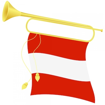 Векторная иллюстрация горн с флагом австрии