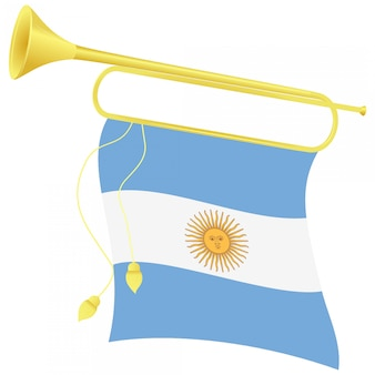 Vector illustration bugle with a flag argentina