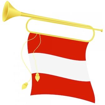 Vector illustration bugle with a flag austria