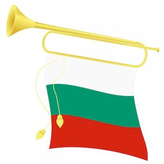 Vector illustration bugle with a flag bulgaria