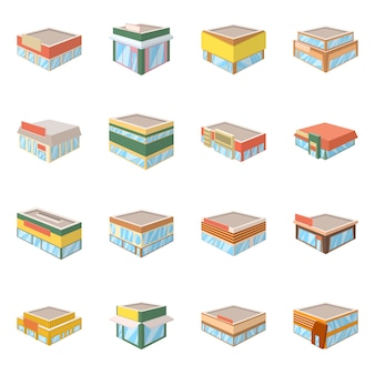 Vector illustration of and building icon. collection of and business set