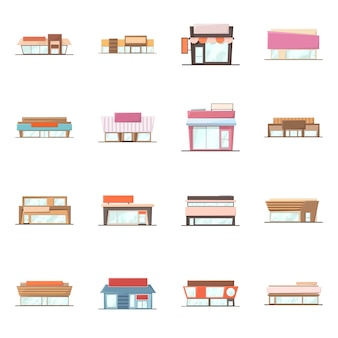 Vector illustration of building and supermarket sign. collection of building and market set