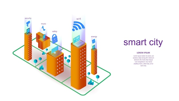 Vector illustration of a building with elements of a smart city. science, futuristic, web, network concept, communications, high technology. eps 10.