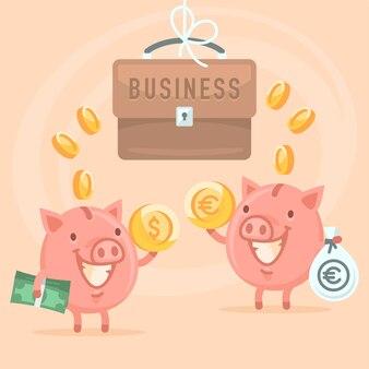 ベクトルイラスト、ビジネスと貯金箱、フォーマットeps 10