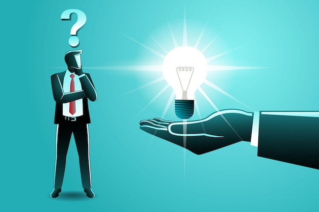 Vector illustration of business concept, big hand gives idea bulb to confused businessman