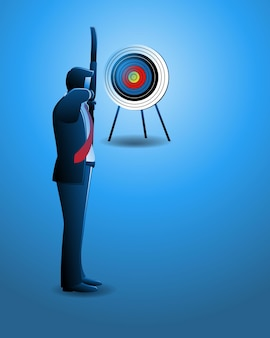 Vector illustration of business concept, businessman aiming at the target with bow and arrow