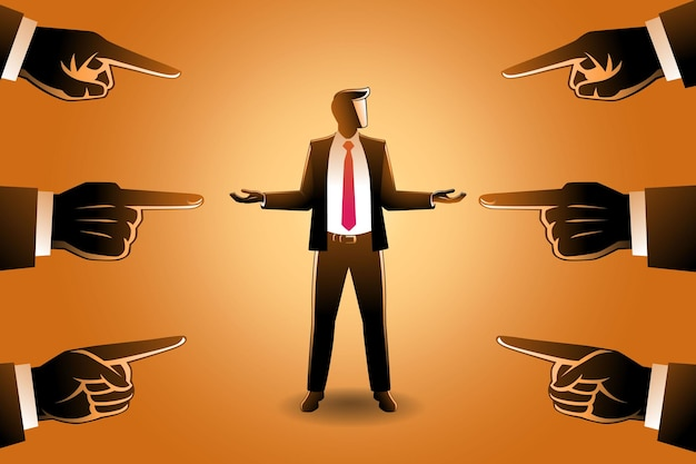 Vector illustration of business concept, a businessman being pointed by giant fingers