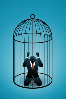 Vector illustration of business concept, businessman on bird cage
