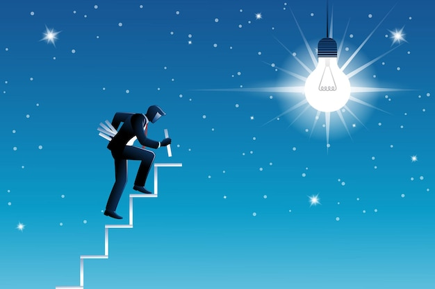 Vector illustration of business concept, businessman build staircase to get big bulb in sky