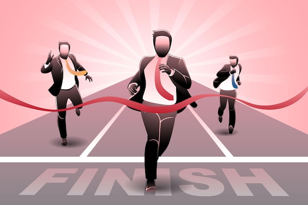 Vector illustration of business concept, businessman crossing finish line in race