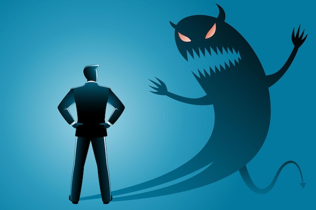 Vector illustration of business concept, businessman from back view confront with his own evil shadow