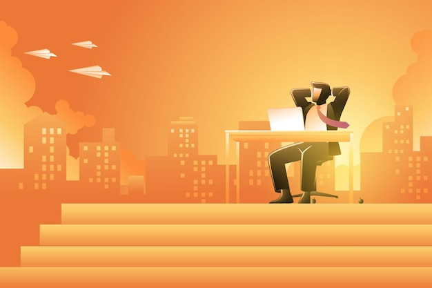 Vector illustration of business concept, businessman on his desk relaxing while looking to group of paper plane