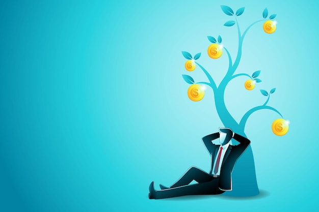 Vector illustration of business concept, businessman sitting relaxing leaning against gold coin tree