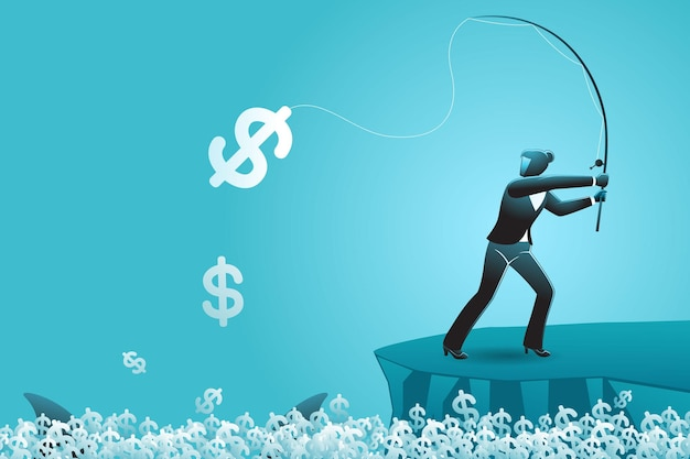 Vector illustration of business concept, businesswoman fishing dollar currency symbol