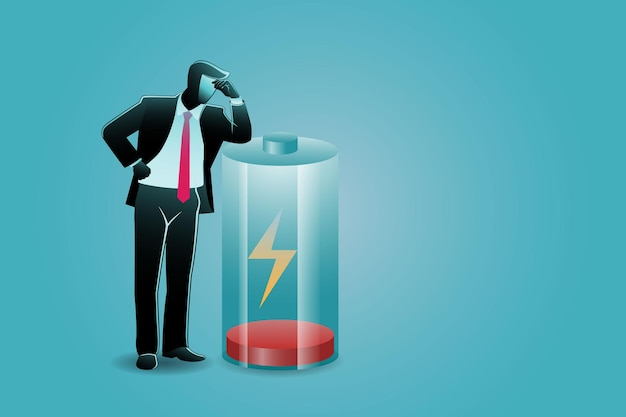 Vector illustration of business concept, tired businessman lean at low battery