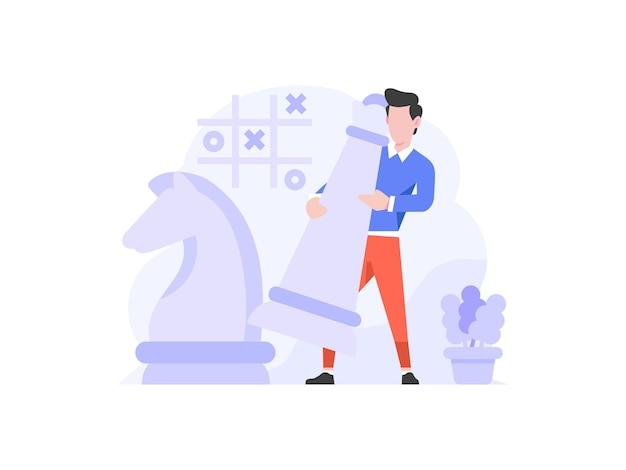Векторная иллюстрация бизнес финансы тактика шахматная стратегия установка переместить характер плоский дизайн стиль