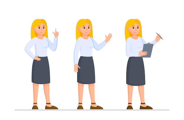 Vector illustration of a business lady set. one girl in different poses. concept of a modern business woman.