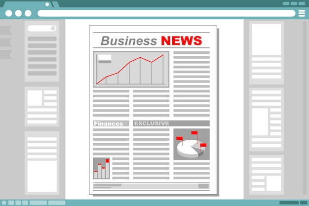 A vector illustration of business newspaper with browser window frame