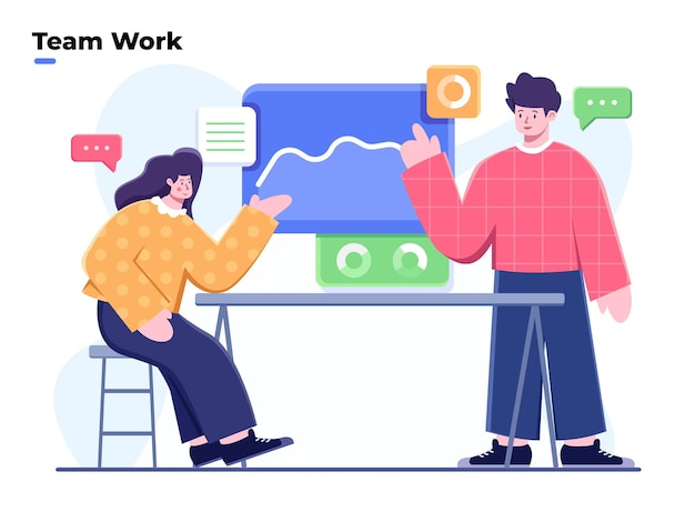 Vector illustration business team  discussion