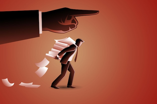Vector illustration of businessman bearing stack of paperwork on his back under giant hand command
