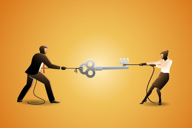 Vector illustration of businessman and businesswoman scramble big key with rope