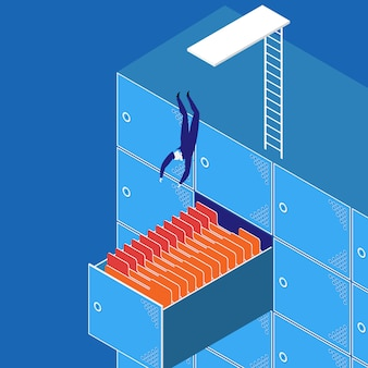 Vector illustration of businessman diving into the work