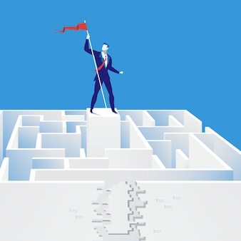 Vector illustration of businessman finding exit from labyrinth, flat style