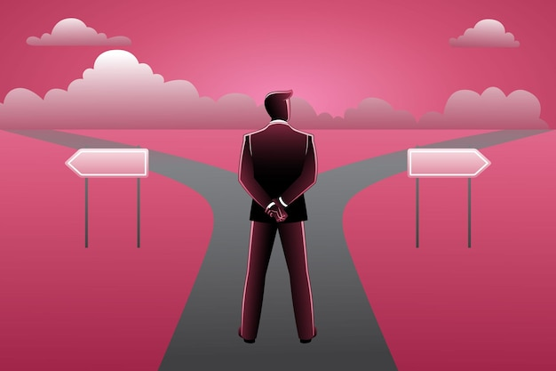 Vector illustration of businessman in front of crossroad and signpost arrows shows two different courses