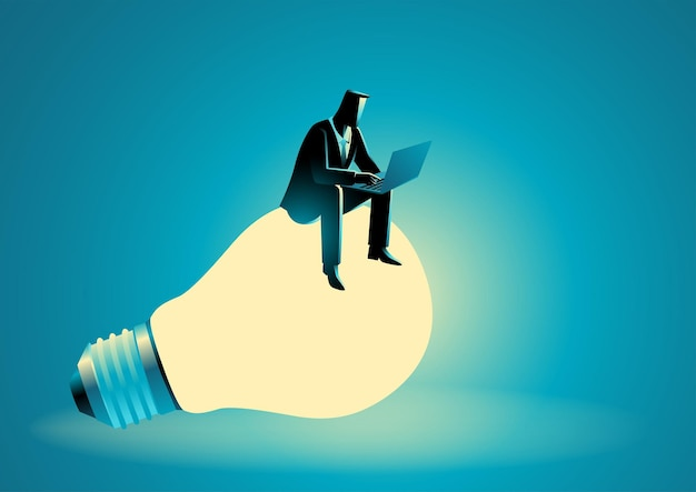 Vector illustration of businessman sitting on giant light bulb while working on lap top computer
