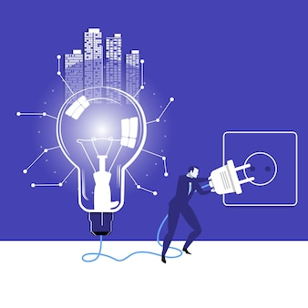 Vector illustration of businessman trying to switch on idea bulb