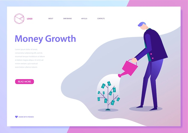 Vector illustration of businessman watering money plant concept for making money investment