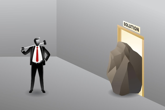 Vector illustration of businessman with hammer on his shoulder ready to break big stone that obstruct the door