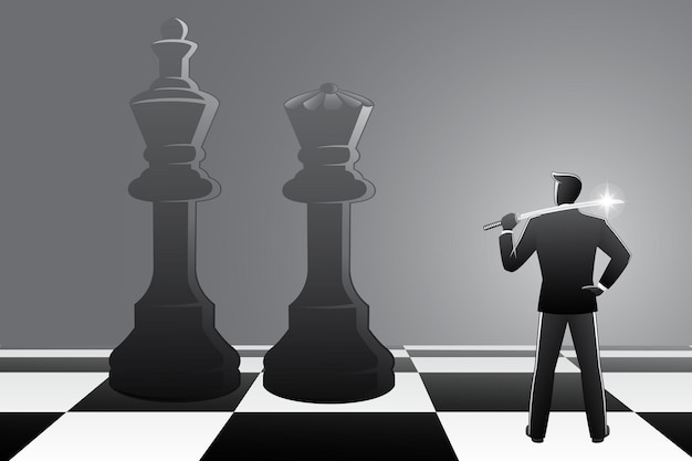 Vector illustration of businessman with a katana sword resting on his shoulder confront to chess king and queen on chessboard