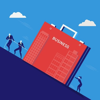 Vector illustration of businessmen pulling business briefcase.