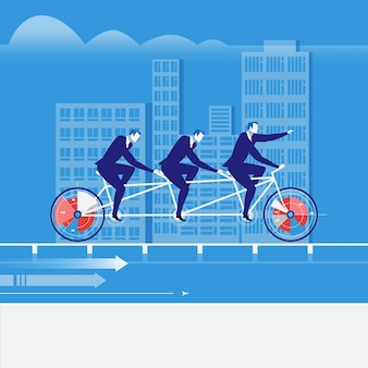 Vector illustration of businessmen riding tandem bike in flat style
