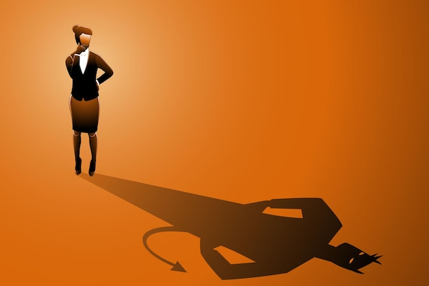 Vector illustration of businesswoman standing while looking at to his own evil shadow
