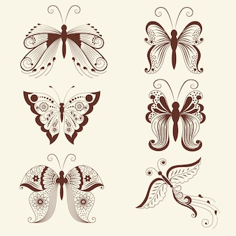Vector illustration of butterflies in mehndi ornament. traditional indian style, ornamental floral elements for henna tattoo, stickers, mehndi and yoga design, cards and prints.