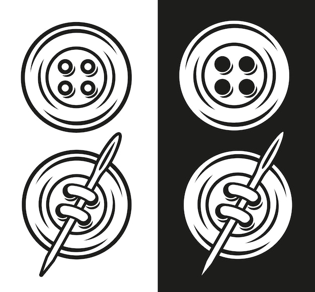 Vector illustration of a button in two versions