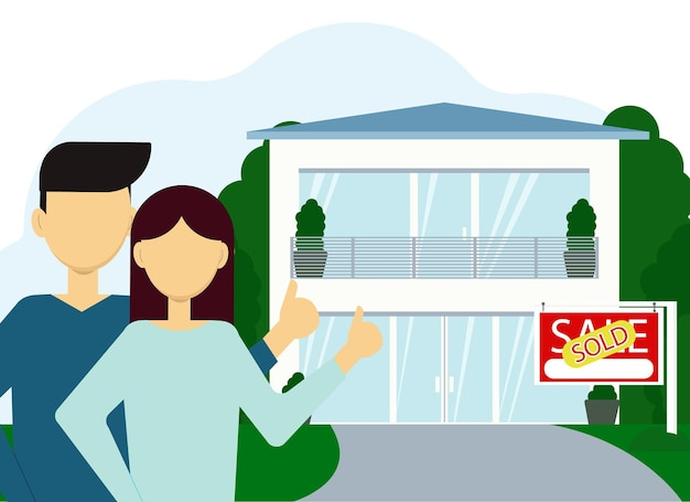 Vector illustration of buying real estate. a couple of man and woman on the background of a large house with a sold billboard.