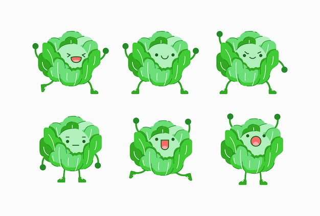 Vector illustration of cabbage character with different facial and body expression