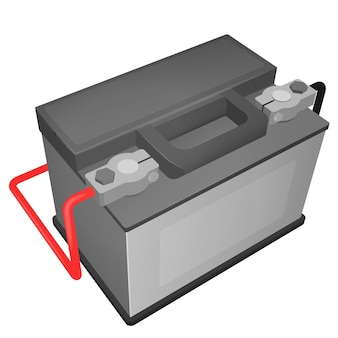 Vector illustration of car battery with connected terminals