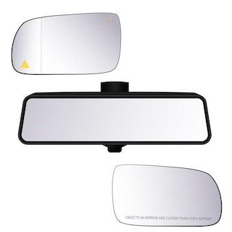 Vector illustration of car realistic mirrors. rear and side mirrors