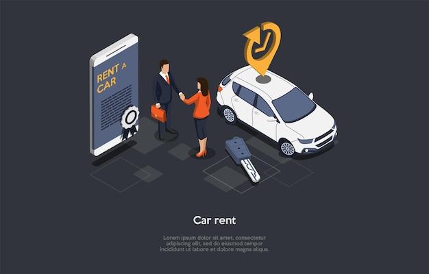 ベクトルイラスト、レンタカーのコンセプト。等角3d構成、漫画スタイル。車両リバリーサービス、ビジネス戦略、デイリーペイ。握手するキャラクター。画面に情報が表示されたスマートフォン
