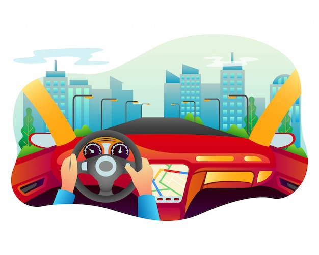 Vector illustration of a car with many sophisticated interior.