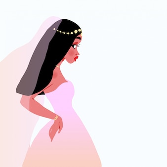 Vector illustration for a card or poster. wedding. beautiful bride girl in a wedding dress.