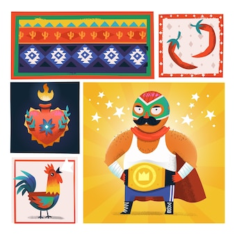 Векторная иллюстрация карты с мексиканцами и элементами известного борца лучадора