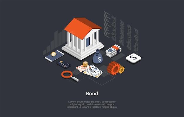 ベクトルイラスト。漫画の3dスタイル。等尺性の構成。コンセプチュアルデザイン。債券保険書類。金融銀行サービス。大きな建物、さまざまなお金のアイテム、周りのインフォグラフィック要素。