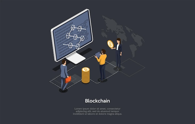 Vector illustration, cartoon 3d style. isometric composition on dark background. blockchain system, bitcoin cryptocurrency conceptual design. computer with infographics on screen, people standing near