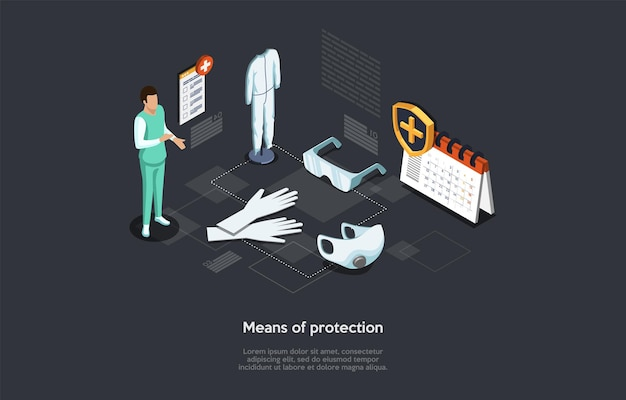 Vector illustration in cartoon 3d style. isometric composition on dark background with text. means of protection, disease prevention and medical healthcare concept. person, infographics, clinic items.